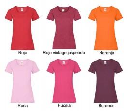 surtido de colores rojos de camiseta mujer fruit of the loom 165 gr