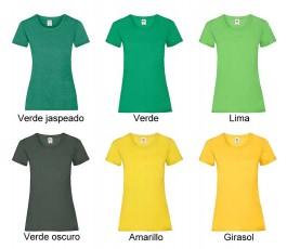 surtido de colores verdes y amarillos de camiseta mujer fruit of the loom 165 gr