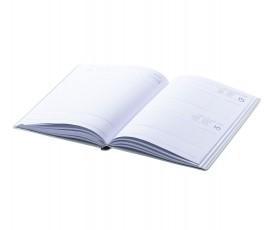interio de agenda de tapa rigida de carton y cierre con cinta elástica