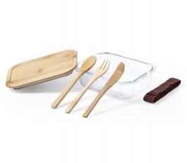 fiambrera de cristal y bambu con tres cubiertos sueltos