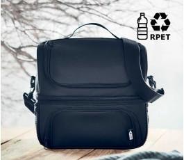vista frontal de bolsa nevera modelo C6287 color negro con sello RPET