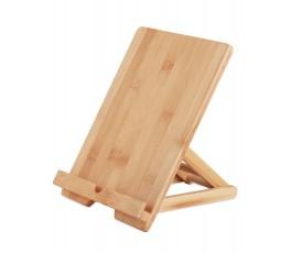 soporte publicitario de bambu para tablets en fondo blanco