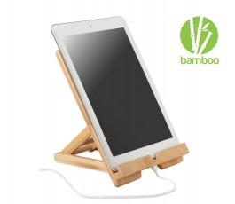 soporte publicitario de bambu para tablets con tablet colocado y sello BAMBU