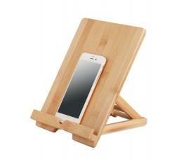 soporte publicitario de bambu para tablets con movil colocado