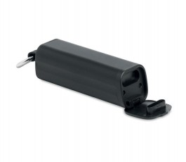 estuche con dos auriculares TWS color negro con soporte desplegado