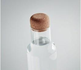 detalle del tapon de la botella de vidrio de borosilicato con tapon de corcho