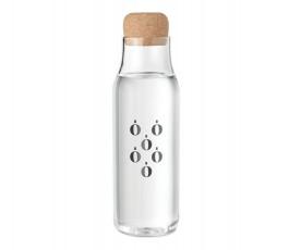 botella de vidrio de borosilicato con tapon de corcho personalizado a 1 color