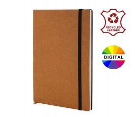 libreta A5 con tapa de cuero reciclado color marrón y cinta elástica con sellos