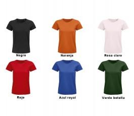 surtido de colores vivos de  la camiseta de mujer de algodon organico