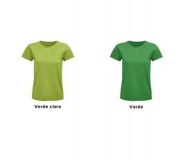 camiseta de mujer de algodon organico en colores verde y verde claro