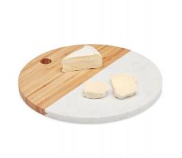 tabla para cortar redonda de madera de bambú y mármol blanco con queso cortado
