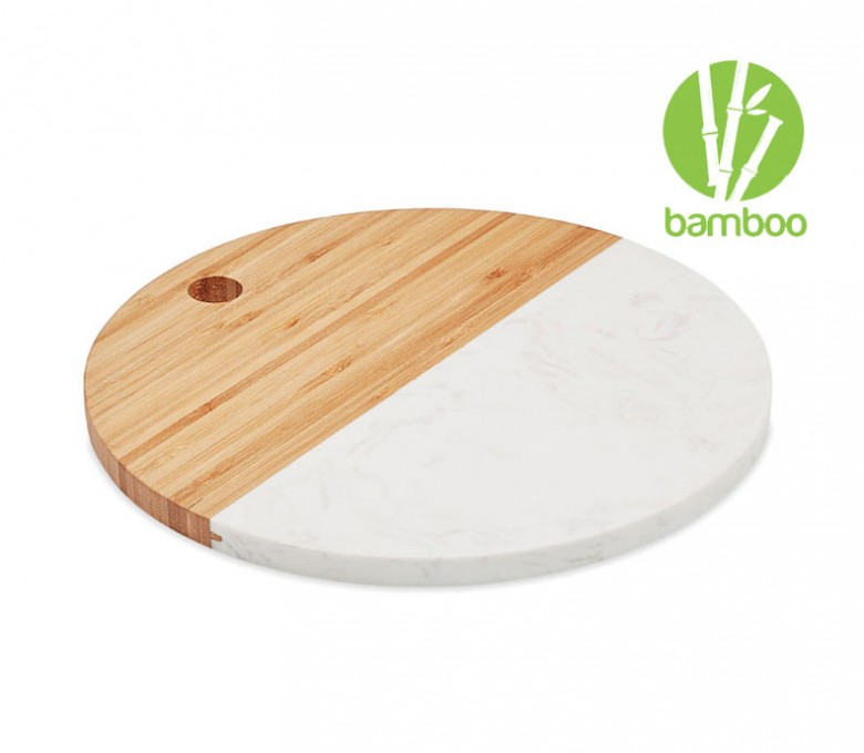 tabla para cortar redonda de madera de bambú y mármol blanco con sello BAMBOO