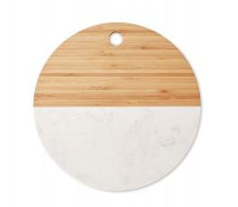 vista cenital de la tabla para cortar redonda de madera de bambú y mármol blanco