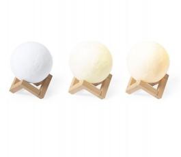 varias intensidades de luz del altavoz en forma de bola con lampara en base de madera
