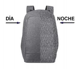 comparativa de vista de mochila antirrobo reflectante para portatil y tablet en luz de dia y de noche