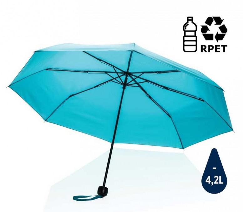 paraguas de bolsillo de RPET IMPACT de color azul abierto con sello de ahorro de agua