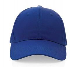 vista frontal de gorra publicitaria de algodon reciclado IMPACT de color azul