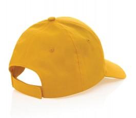 vista trasera de gorra publicitaria de algodon reciclado IMPACT de color amarillo