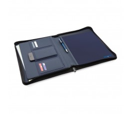 carpeta porta documentos de RPET IMPACT de color azul marino abierta