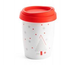 taza de viaje de porcelona con tapa de color rojo y decoracion navideña