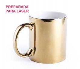 taza de  ceramica de color dorado brillante preparada para marcar con laser