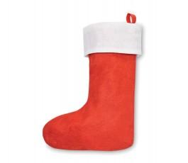 bota de navidad de color rojo y blanco con cinta para colgar