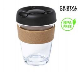 vaso de cristal de borosilicato con franja de corcho y tapa negra con sellos