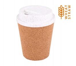 tapa de fibra de trigo y corcho con tapa dosificadora y sello