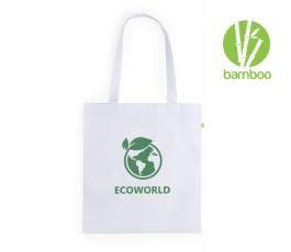 bolsa ecologica de fibra de bambu color blanco con sello Bamboo