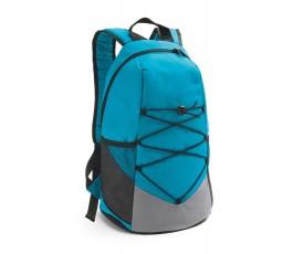 mochila de color azul con cintas elasticas en la parte frontal