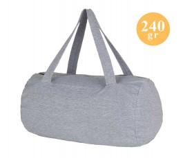 bolsa de viaje de french terry color gris mezcla con sello 240 gr