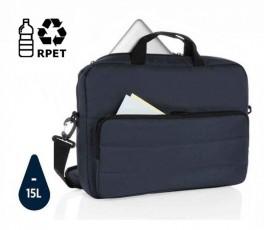 maletin para ordenador ecologico AWARE color azul abierto con sello ahorro de agua