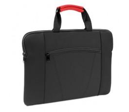 maletin de soft shell negro modelo A4371 con asa de color rojo