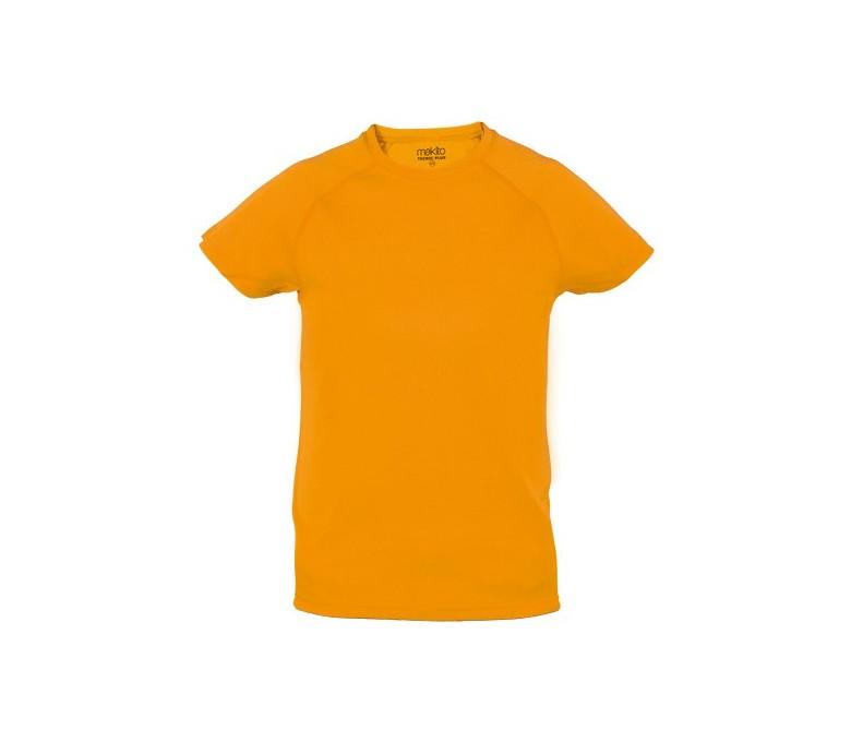 camiseta tecnica infantil de color naranja