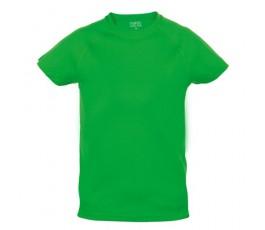 camiseta tecnica infantil de color verde
