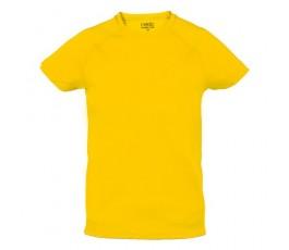 camiseta tecnica infantil de color amarillo
