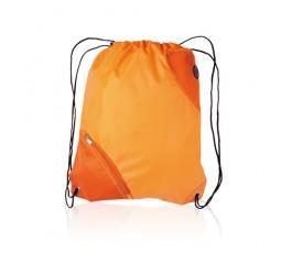 mochila de saco con bolsillo modelo A3630 de color naranja