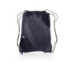 mochila de saco con bolsillo modelo A3630 de color negro