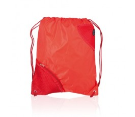 mochila de saco con bolsillo modelo A3630 de color rojo
