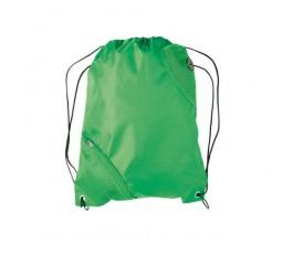 mochila de saco con bolsillo modelo A3630 de color verde