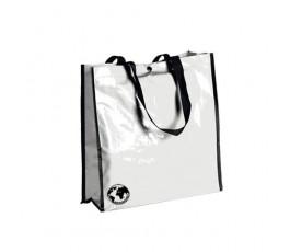 bolsa biodegradable color blanco y asas de color negro