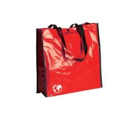 bolsa biodegradable color rojo y asas de color negro