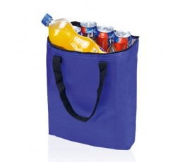 bolsa nevera plegable color azul con botella y latas en el interior