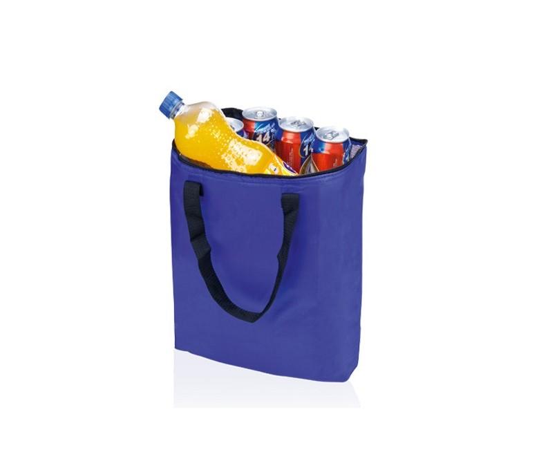 bolsa nevera plegable color azul con botella y latas en el interior