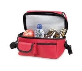 nevera de playa modelo A4364 color rojo abierta con comida y bebida en el interior