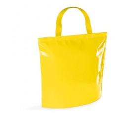 bolsa nevera de non-woven laminado de color amarillo en fondo blanco