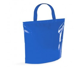 bolsa nevera de non-woven laminado de color azul en fondo blanco