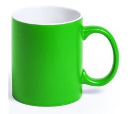 Taza de color verde e interior de color blanco para personalizar con laser