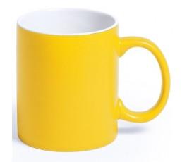 Taza de color amarillo e interior de color blanco para personalizar con laser