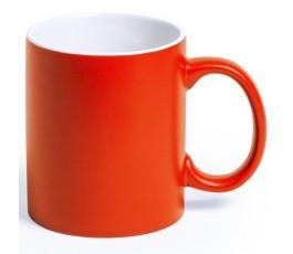 Taza de color naranja e interior de color blanco para personalizar con laser